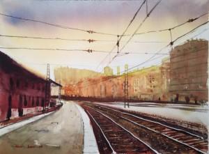 Saliendo de la estación de Abando. Bilbao.