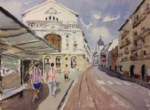 acuarela, watercolor, Bilbao, Athletic Club