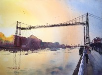 Acuarela, watercolor, Bilbao, Puente Colgante, Bizkaia