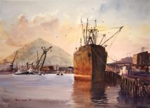 Bilbao, acuarela, watercolor, barco, ship