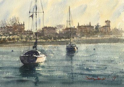 Getxo, Algorta, acuarela, watercolor