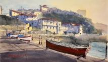 La txalupa roja; Puerto Viejo de Algorta. Txalupa gorria